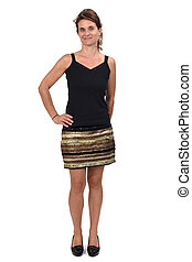 woman in a skirt on white background,