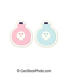 Full Potion Bottle Sticker with a poison and Skull. Traditional symbol of Halloween isolated on white. Pink Blue Cartoon character. Holidays cards, applique, web. Printable flat style.