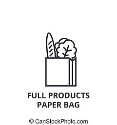 full products paper bag line icon, outline sign, linear symbol, vector, flat illustration