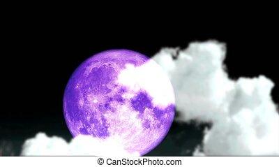 Full purple moon back on night sky and blur dark cloud moving