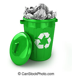 Full recycle bin isolated on white background