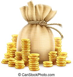 Full sack of cash money gold coins. Vector illustration.