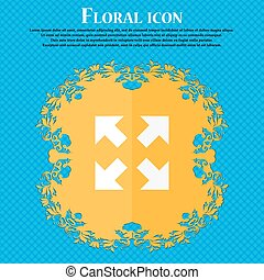 Full screen icon. Floral flat design on a blue abstract background with place for your text. Vector