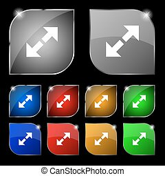 Full screen icon sign. Set of ten colorful buttons with glare. Vector