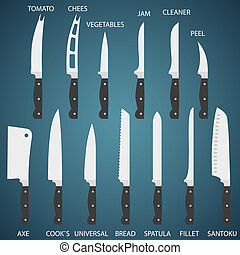 Set flat icons of kitchen knives with signature names. Vector isolated on white background.