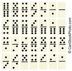 full set of domino tiles isolated on white background