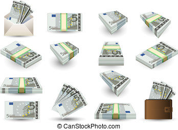 full set of five euros banknotes - Detailed animation of a...