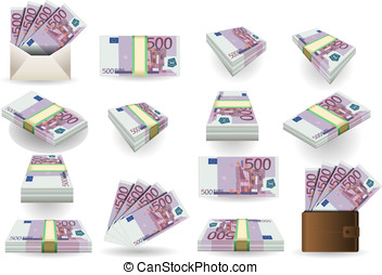full set of five hundred euros banknotes - Detailed...