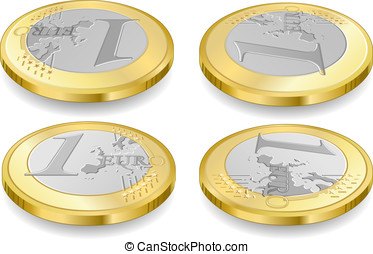 full set of one euro coins - Detailed animation of a full...