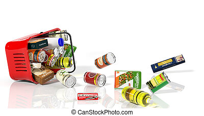 Full shopping basket with products falling out isolated on white