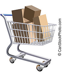 Illustration of a shopping cart full of parcels