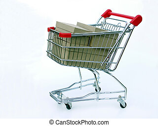 Full shopping cart - Miniature shopping cart isolated on...