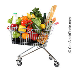 Full shopping trolley - metal shopping trolley filled with...