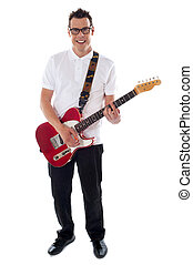 Full shot of a young man with guitar