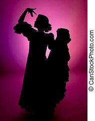 Full silhouette - Silhouette of a Spanish flamenco dancer...