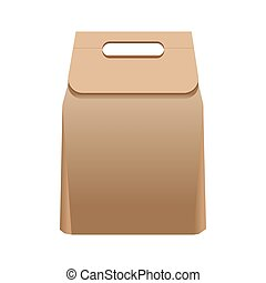 Full simple paper bag with handle isolated illustration