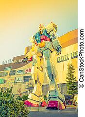 Full size Gundam Performances Outside DiverCity Tokyo Plaza,...
