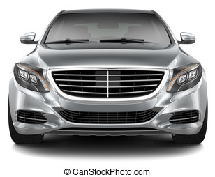 Full-size luxury car - front view - Silver Luxury Car on a...