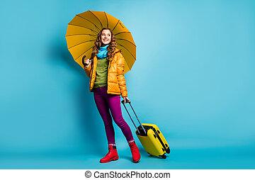 Full size photo of beautiful lady traveler abroad hold ...