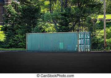 Full Size Portable Storage Trailer In Parking Lot