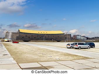 Full size replica of Noah's Ark and car park in Dordrecht,...