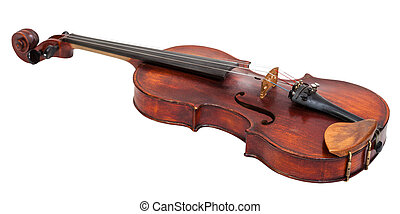 full size violin with wooden chinrest isolated on white...