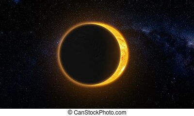 Full solar eclipse. Abstract scientific background - Full...