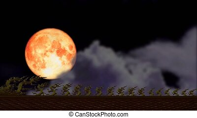 full Strawberry blood moon back on night sky and blur cloud moving pass on the roof