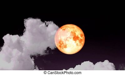 full Strawberry blood moon rise on the night sky and gray cloud moving pass