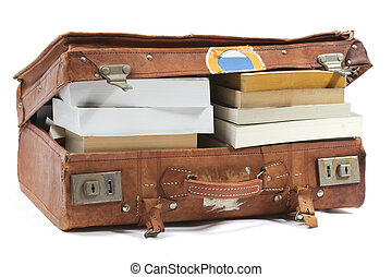 Full suitcase  - Leather suitcase filled with books