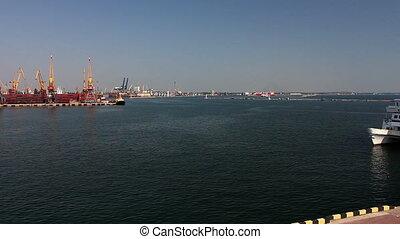 (full, timelapse, arrivant, mer, croisière, blanc, catamaran, port, hd)
