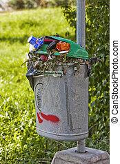 Full Trash bin outdoor