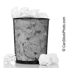 Full trash can isolated on white.