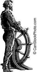 Vintage Ship Captain at the Helm Engraving