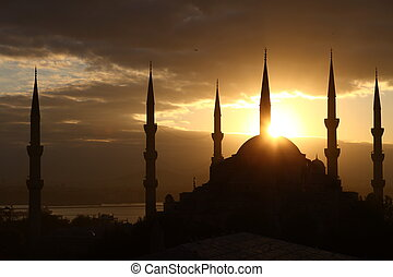 Blue Mosque - Full view of Blue Mosque in Istanbul at...