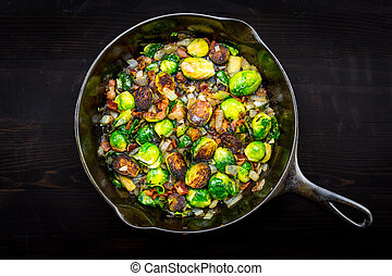 Full View of Cast Iron Skillet with Brussels Sprouts