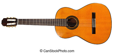 full view of prime acoustic guitar isolated on white...