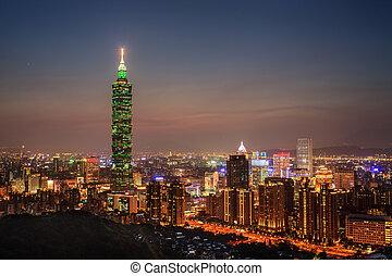Full view of Taipei, Taiwan evening