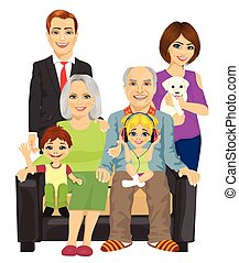 cheerful family at home sitting on sofa - full view portrait...