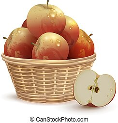 Full Wicker basket with red apples
