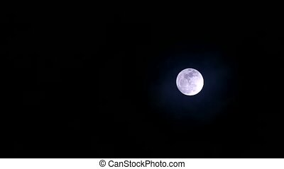 full wolf moon on clear night sky time lapse