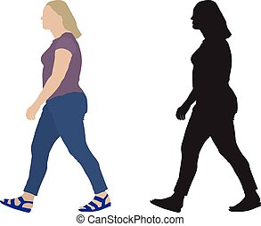 Full woman in motion, side view and silhouette. Vector...