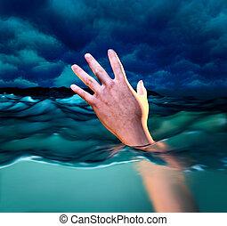 fulladás, áldozat, kéz, közül, fulladás, ember, szükségben lévő, help., 3, ábra