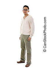 Asian man - Fullbody 30s Southeast Asian man standing over...