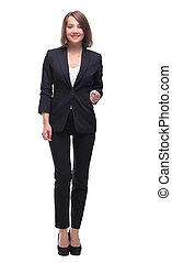 Fullbody business woman smiling isolated over a white