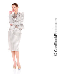 Fullbody business woman smiling isolated over a white...