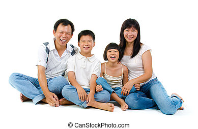Fullbody happy Asian family