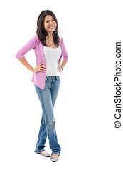 Full body Southeast Asian female smiling over white background