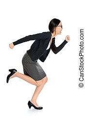 Fullbody young Asian woman running