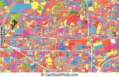 Fullerton, California, USA, colorful vector map